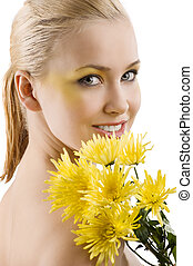 yellow flower beauty portrait