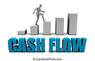 Cash flow 3D Concept  in Blue with Bar Chart Graph