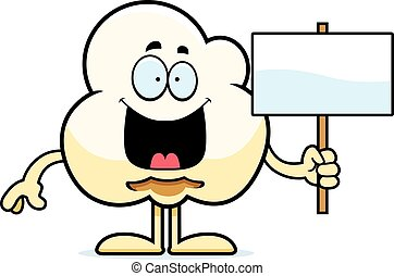 Cartoon Popcorn Sign - A cartoon illustration of a popcorn...