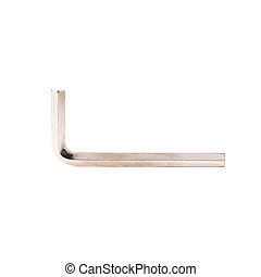 Hex metal allen key over white isolated background - Hex...