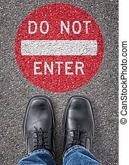 Text on the floor - Do not enter
