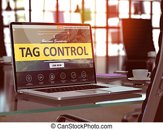 Tag Control on Laptop in Modern Workplace Background - Tag...