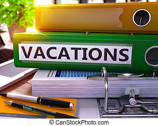 Green Office Folder with Inscription Vacations - Green...
