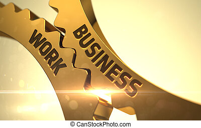 Business Work Concept Golden Metallic Gears - Business Work...