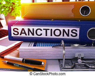 Sanctions on Blue Office Folder. Toned Image. - Sanctions -...