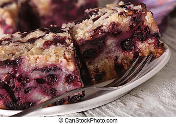 Berry Buckle close up on a plate. horizontal