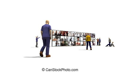 3D characters looking at business people on a screen in HD