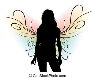 Silhouette with Butterfly Wings