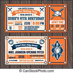 Vector Baseball Event Invites set 2 - Vector illustrations...