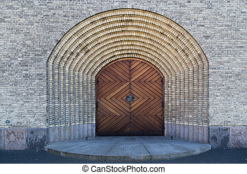 Entrance to Grundtvigs Church in Copenhagen, Denmark -...