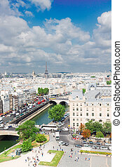 skyline of Paris, France - skyline of Paris city roofs frome...