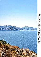 Santorini Caldera - An image of Santorinis caldera with the...