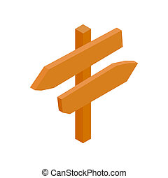 Wooden direction arrow sign isometric 3d icon
