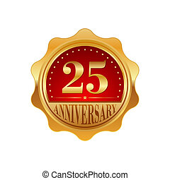 25 years anniversary golden label on a white background