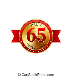 65 years anniversary golden label with ribbons on a white...