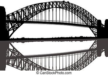 Sydney, porto, ponte, silueta