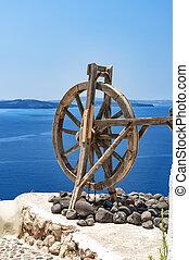 Santorini Spinning Wheel - Spinning wheel in the stunningly...