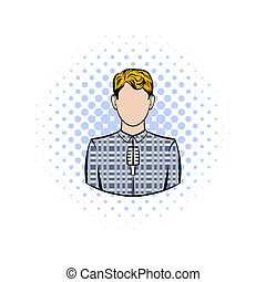 Man with microphone comics icon on a white background