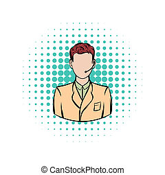 Man with headset comics icon on a white background