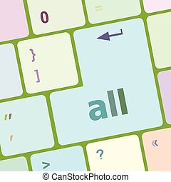 all words concept with key on keyboard vector illustration