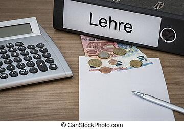 Lehre written on a binder - Lehre German apprenticeship...