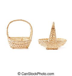 Set of brown wicker basket isolated over the white background