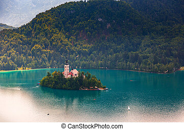 Panoramic view of Bled Lake, Slovenia, Europe