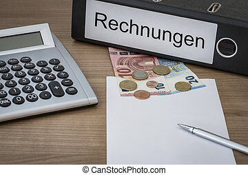 Rechnungen written on a binder