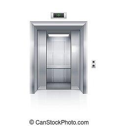 Elevator Doors - Half Open Chrome Metal Elevator Door on...