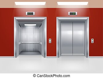 Elevator Doors - Open and Closed Modern Metal Elevator...