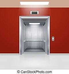 Elevator Doors - Realistic Empty Modern Elevator with Open...