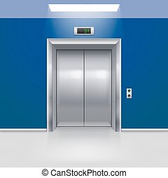 Elevator Doors - Realistic Metal Modern Elevator with Closed...