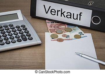 Verkauf written on a binder