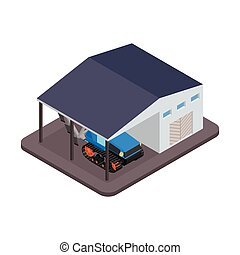 Tractor for repairs at the garage - vector illustration