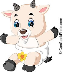 Cute cartoon goat - illustration of Cute cartoon goat
