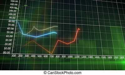 Business chart on a green wall background with progressing...