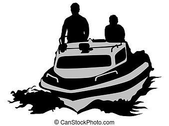 Motor ship and people - Silhouette of retro ship on white...