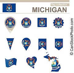 Michigan Flag Collection, USA State, 12 versions