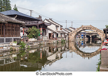 Bridges, canals of Fengjing Zhujiajiao ancient water  town