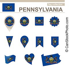 Pennsylvania Flag Collection, USA State, 12 versions