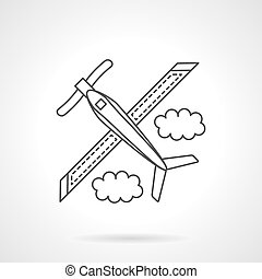 Airplane with propeller flat line vector icon - Plane with...