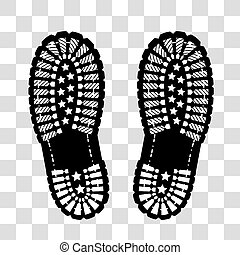 Shoe print on chekered background - Shoe print vector...