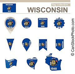 Wisconsin Flag Collection, USA State, 12 versions