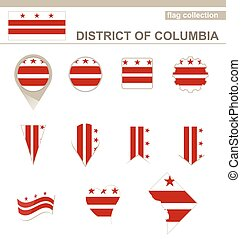 District of Columbia Flag Collection, USA State, 12 versions