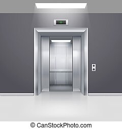Elevator Doors - Realistic Empty Elevator with Half Open...