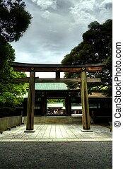 Torii - A Torii gate leading into a Shrine in Tokyo.