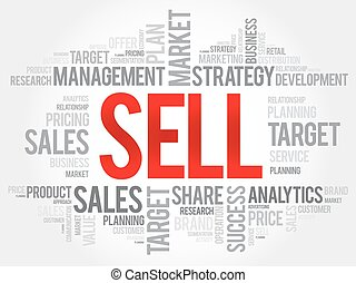 Sell word cloud, business concept
