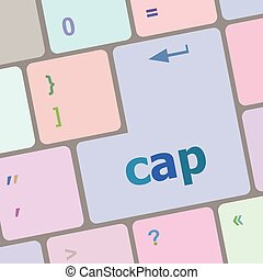 cap key on computer keyboard button vector illustration