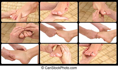 Animation presenting the feet massage in a spa center
