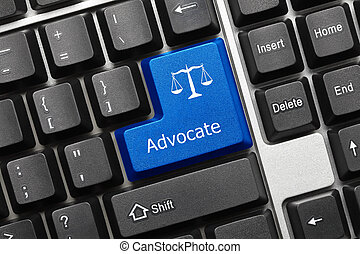 Conceptual keyboard - Advocate blue key - Close-up view on...